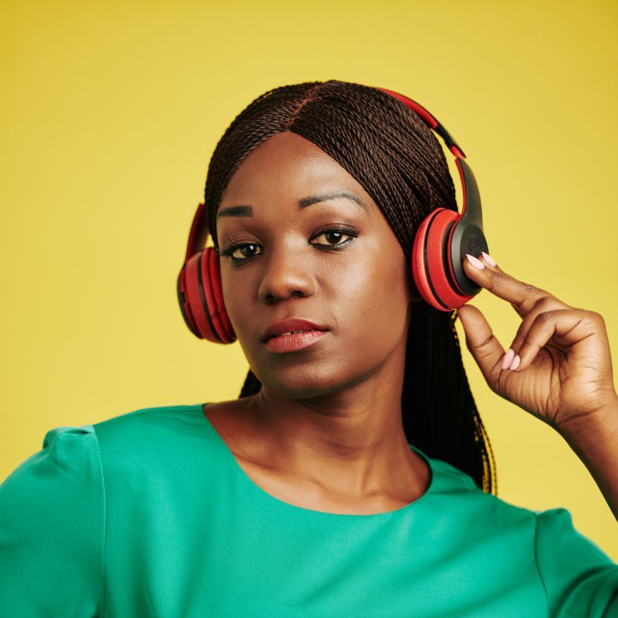 Get the publicity you deserve (stylish woman listening to headphones)